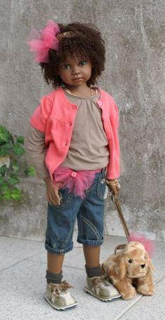 "Arlene's Dolls - Angela Sutter Dolls - ""Ariela"" (that face, those eyes) Reborn Babypuppen, Reborn Toddler, Toddler Dolls, Child Doll, Reborn Baby Dolls, Reborn Child, Pretty Dolls, Cute Dolls, Beautiful Dolls"