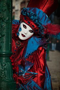 Venetian Carnival -- Red And Blue Print by Zina Zinchik