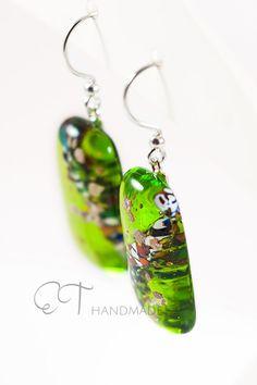 Lime green Murano glass earrings Unique italian by EThandmadeshop