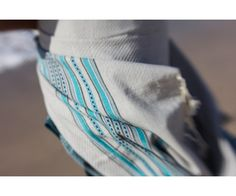 Fouta towel Honeycomb Grey - Turquoise - Blue Marine - www.cool-fouta.com