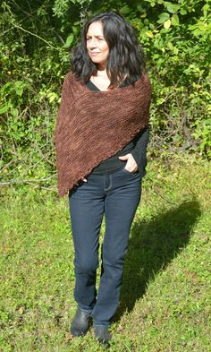 Knitted Cover Up Women Poncho Brown Poncho by CasadeAngelaCrochet