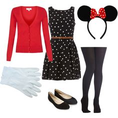 Office-friendly Minnie Mouse Halloween costume. I'm totally going to do this on Halloween! Aside from the ears, I have everything in my closet.