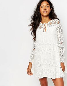 Boohoo+Tie+Front+Lace+Swing+Dress