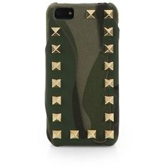 Valentino Studded Camouflage iPhone 5 Case ($145) ❤ liked on Polyvore featuring accessories, tech accessories, phone cases, phone, electronics, case, army and apparel & accessories
