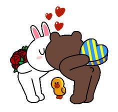 Animated Sticker pack of Brown and Cony romantic and exciting date is here. Download and share on facebook, send on chats and spread this romantic feeling.