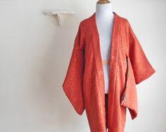 Vintage Japanese Short Kimono Robe / Persimmon by FAIREshoppe