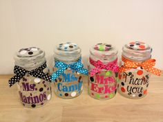 Personalized candy jar - name or monogram, polka dots or flowers - Great Christmas, teacher or Mother's Day gift, choose your colors by DeLaDesign on Etsy https://www.etsy.com/listing/115132274/personalized-candy-jar-name-or-monogram