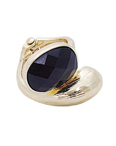 Oval Epoxy stone with Metal Hinge Ring - IXR0140-BLACK