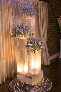 glowing ice sculptures - set the mood for a winter wedding! | event center at blue