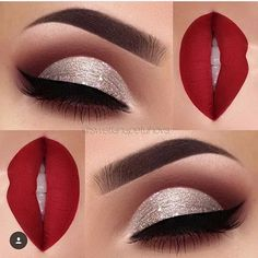 Wedding makeup red lips cut crease Ideas for 2019 Hochzeit Make-up rote Lippen Red Lip Makeup, Eyebrow Makeup, Glam Makeup, Eyeshadow Makeup, Makeup Brushes, Silver Makeup, Eyeshadow Ideas, Makeup Eyebrows, Hair Makeup