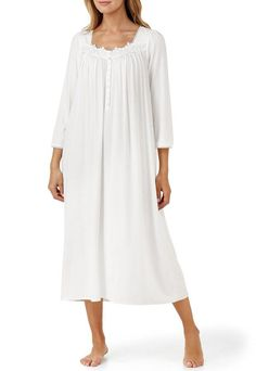 Eileen West Lace-Trimmed Ballet Nightgown Flannel Nightgown 24b4e71c4