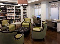 Senior Living  Designed by Faulkner Design Group  #library #luxury #faulknerdesigngroup #interiordesign #seniorliving