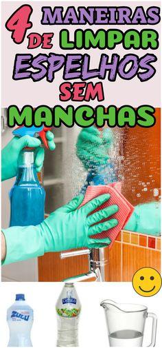 Não precisa ser perfeccionista ou maníaco por higiene para se irritar com aquelas manchinhas de pasta de dente e imediatamente limpar espelho para se livrar delas. O problema é lidar com as manchas e marcas que parecem se multiplicar a medida que se passa pano molhado, produto de limpeza ou um simples papel seco. #dicas #truques #receitas #caseiro #dicascaseiras #limpeza #limaparespelho #espelho #espelhosemmancha #espelhosemarranhao Personal Organizer, Clean House, Home Art, Cleaning Hacks, Water Bottle, Pasta, Good Things, Organization, Mirror
