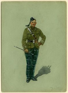 Officer The Scottish Rifles- Cameronians 1915 by R.Simkin
