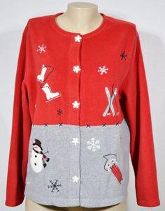LANDS' END Red Fleece Turtleneck Sweatshirt 1X Embroidered ...