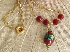 Garden Drop - Wine & Gold by QuirkySuZdesigns on Etsy