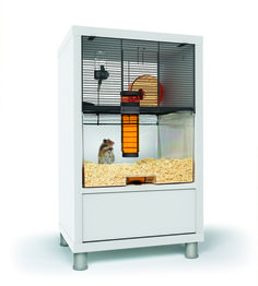 Our new cage/end table for Charlie our hamster...such a great idea & so functional!!