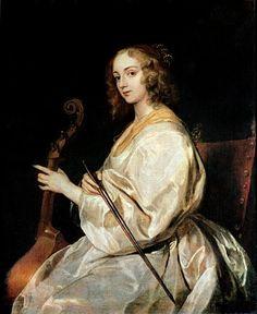 Sir Anthony van Dyck - Young Woman Playing a Viola da Gamba