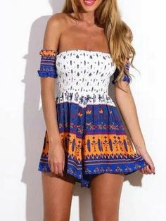 Women Summer Style Aztec Short Sleeve Strapless Backless Off the Shoulder Macacao Feminino Overalls Jumpsuit Playsuit Romper
