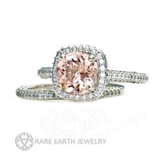 An absolutely gorgeous natural Morganite and diamond wedding set in your choice of 14K White, Yellow or Rose gold. The engagement ring has a