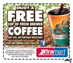Xtramart $$ Coupon for FREE Cup of Fresh Brewed Coffee – TODAY Only (3/9)!