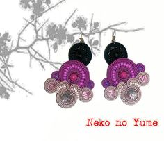 Soutache earrings  Sakura by IzabelaCichocka on Etsy