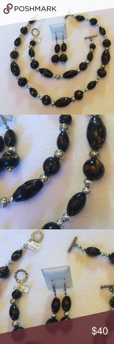 """Handmade OOAK Glass & Silver Bead Jewelry Set Black glass beads with color swirls and SP accents make this set a """"go to"""" for your entire wardrobe.  The 18.5"""" necklace and 8.5"""" bracelet both have toggle closures.  The 2.25"""" hook earrings compliment nicely and come with stoppers for security.  Thanks for stopping in! Handmade Jewelry"""