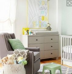 Outfit a new nursery in mix-and-match nursery décor with the My Sunshine Baby Bedding Collection. A stylish gray crib and dresser pairs perfectly with gender-neutral nursery bedding in calming shades of gray and yellow. From blankets to crib sheets to rugs, you'll find charming geometric prints like stripes, polka dots or chevron. Finish the room with a sweet accent like a giraffe-shaped wood bank to create a look you and your little one will love.