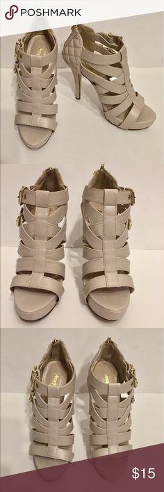 Charlotte Russe Nude Open Toe Heels Charlotte Russe Nude Open Toe Heels, size 7, heel height 5 inches, worn a few times Charlotte Russe Shoes Heels