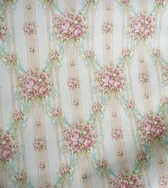 vintage french wallpaper | Vintage French Wallpaper 1940s cottage roses and ribbons