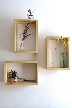 """These shelves are made from pine and stained with a clear gloss finish. They are available in Weathered finish as well.  They make beautiful wall displays and are stackable for a stylish vignette.  10"""" X 14"""" X 3.5"""""""