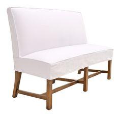 Quatrine White Denim Exposed Leg Dining Bench