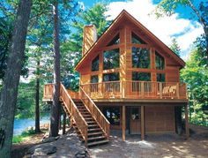 House Plans - Prow & Cedar Homes - Linwood Custom Homes Log Home Floor Plans, Lake House Plans, Lake Cabins, Cabins And Cottages, Small Cabins, Mountain Cabins, Lake Mountain, Small Lake Houses, Mountain Houses