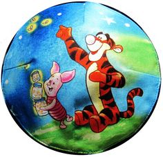 Tigger and Piglet Catching Fireflies Kippah by StudioBJC on Etsy, $15.00