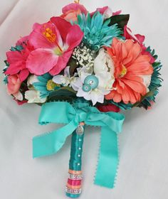 tropical wedding bouquet teal pink coral by foreverdenimandlace 98 00 wedding colors Trendy Wedding, Our Wedding, Dream Wedding, Wedding Stuff, Wedding Beach, Formal Wedding, Wedding Decor, Wedding Reception, Wedding Colors