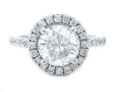 265 Round cut diamond engagement ring halo 14k white gold 1.46ctw