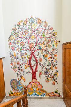 Trendy Home Illustration Interior Work Spaces Ideas Kerala Mural Painting, Indian Art Paintings, Madhubani Painting, Wall Paintings, Painting Canvas, Mural Art, Wall Murals, Wall Art, Fresco
