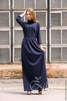 """Купить Длинное платье """" Прага"""" - тёмно-синий, однотонный, длинное платье, платье в пол"""
