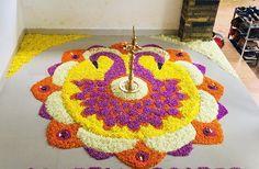 Festival Decorations, Flower Decorations, Diwali Craft, Flower Rangoli, Silk Dupatta, Purple Ribbon, Rangoli Designs, Flower Designs, Flower Art