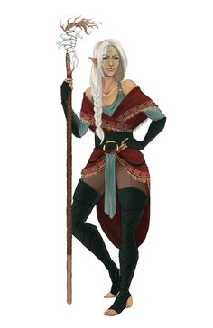 Female Elf Shaman - Pathfinder PFRPG DND D&D d20 fantasy