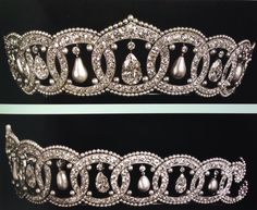 Two views of a pearl and Diamond tiara, ordered from Cartier in 1913 by Mrs Nancy Leeds, later the Princess Christopher of Greece.