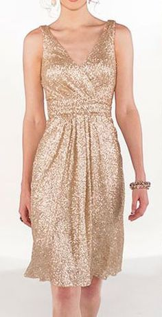 Flattering gold bridesmaid dress
