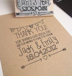 Custom Wedding Thank You Stamp - can double for favors & thank-you notes