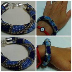 """Geometric pattern beaded bracelet """"jeans"""""""