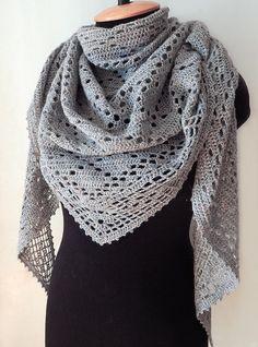 Crochet grey shawl, knitted tweed shawl, lace shawl, crochet wrap, woman lace scarf