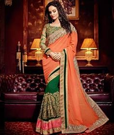 Buy Orange Georgette Half and Half Saree With Blouse 71291 with blouse online at lowest price from vast collection of sarees at Indianclothstore.com.