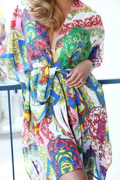 Colorful Paisley Caftan Beach Coverup by SusanPhailyDesigns