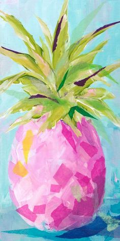 Bay Isle Home 'Pink Pineapple' Acrylic Painting Print Pineapple Painting, Pineapple Art, Doodle Drawing, Flamingo Painting, Pink Painting, Guache, Beach Art, Painting Prints, Art Print