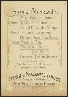 Grosse and Blackwell's pickles, sauces & condiments [back]   Flickr - Photo Sharing!