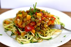 Zucchini Pasta with Roasted Leek and Tomato Sauce